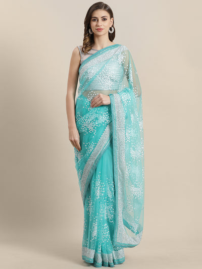 Chhabra 555 Net Saree with Thread embroidery and crystal, pearl embellishments