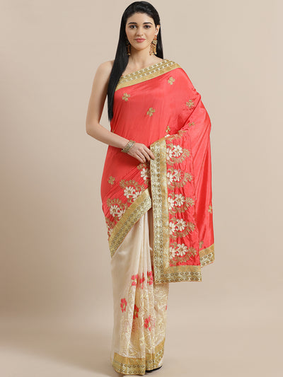 Chhabra 555 Chanderi Half and Half Silk saree with Floral Resham Embroidery and Broad Woven border