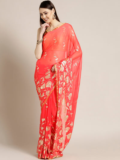Chhabra 555 Coral Chiffon Hand-dyed saree with Gold Foil Printed Floral Tulip Pattern
