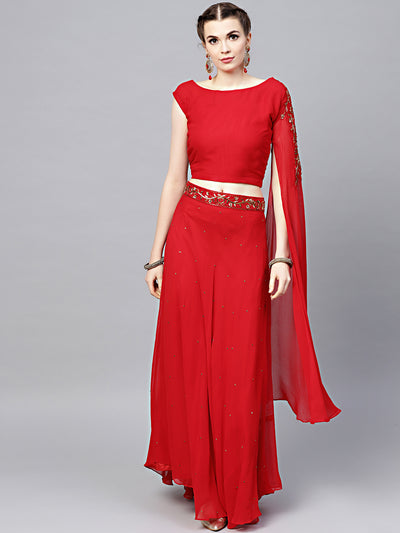 Chhabra 555 Red Embellished Crop-top Lehenga Set with Asymmetrical one-sided sleeve