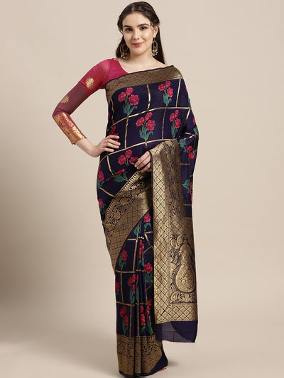 Chhabra 555 Mysore silk saree with intricate zari weaving and shaded floral print