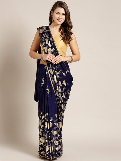 Chhabra 555 Navy Blue Chiffon Hand-dyed saree with Gold Foil Printed Floral Tulip Pattern