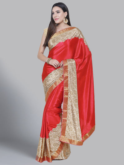Chhabra 555 Coral Red Satin Silk Saree with floral print and a woven Border
