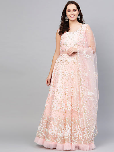Chhabra 555 PInk Cocktail Gown with Pearl Glitter embellishements, Ruffled hemline and cutwork dupatta