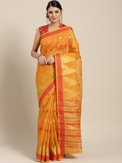 Chhabra 555 Yellow Chanderi Silk saree with Zari and Resham weaving in a traditional temple pattern