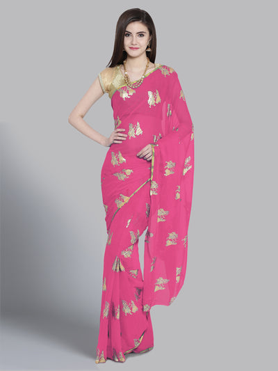 Chhabra 555 Pink Chiffon Foil Print Embellished Party Wear Saree
