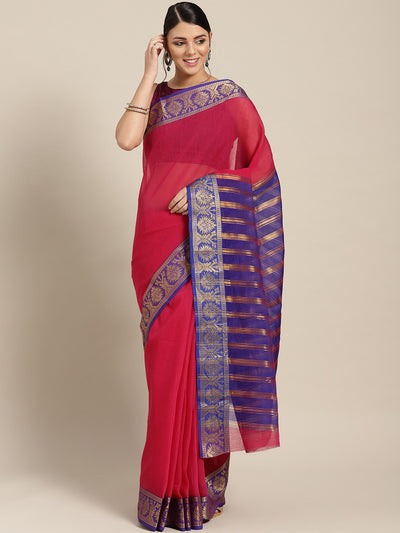 Chhabra 555 Pink Chanderi Silk saree with contrast Zari woven border