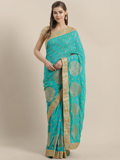 Chhabra 555 French Georgette Embroidered Saree with  Zari Embroidery border and crystals