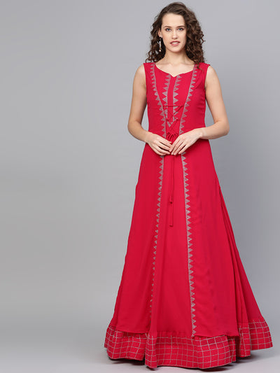 Chhabra 555 Made to Measure Georgette Cocktail Gown with Crystal Embellished Front Open Jacket