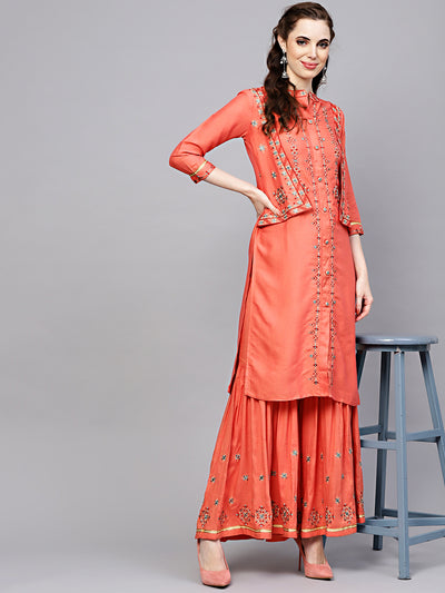 Chhabra 555 Peach Cotton Kurta Set with attached Short Jacket and Embroidered Sharara