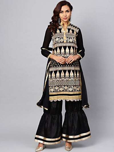 Chhabra 555 Black Embroidered Kurta Set with Crystal Embellishments and Pallazos