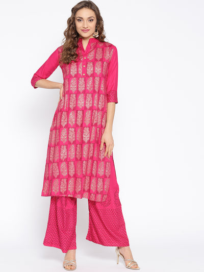 Chhabra 555 Pink Kurta Set with gold foil print in bold floral motifs and matching pants