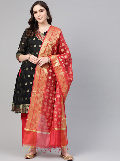 Chhabra 555 Black Banarasi Handloom Dress Material with Zari Resham Weaving and Tassled dupatta