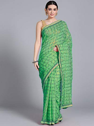 Chhabra 555 Green Georgette Gharchola Saree with Zari Weaving and Gota embroidery