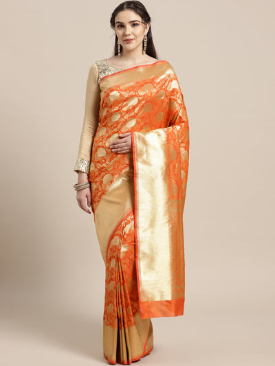 Chhabra 555 Kanjiwaram inspired silk saree with intricate zari weaving in a contemporary floral pattern
