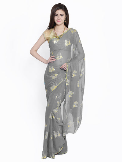 Chhabra 555 Grey Chiffon Foil Print Party Wear Saree