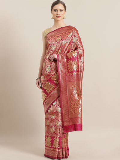 Chhabra 555 Kanjiwaram inspired Silk saree with Oxidised Zari Weaving in a Paisley & Lotus pattern