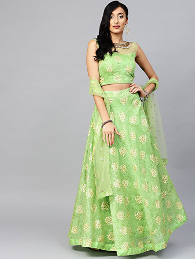 Chhabra 555 Made-to-Measure Croptop Lehenga with Jeweled neckline, Foil Print, Embroidered Dupatta