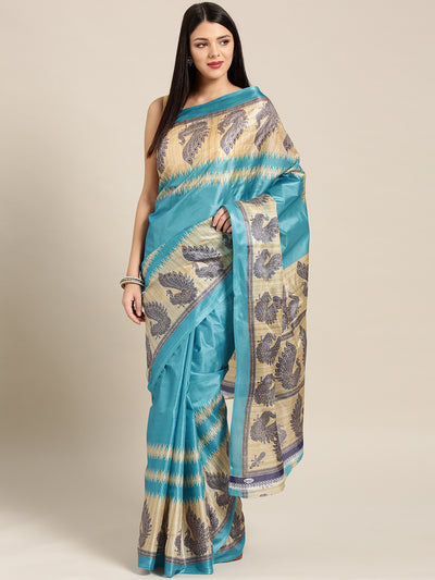 Chhabra 555 Turquoise Blue Printed Bhagalpuri Saree with Traditional Patola Peacock patterns
