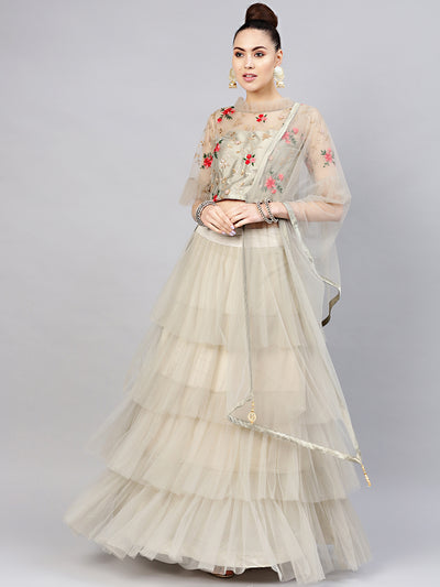 Chhabra 555 Made-to-Measure Crop Top Lehenga Set with Sequin Resham Embroiered blouse and Ruffled Skirt