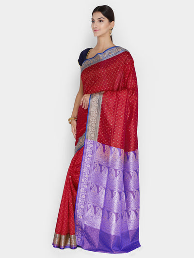 Chhabra 555 Red & Purple Woven Design Banarasi Silk Saree