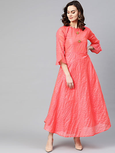 Chhabra 555 Made to Measure Anarkali Printed Kurta Dress with Gota weaving in checkered pattern and bell sleeves