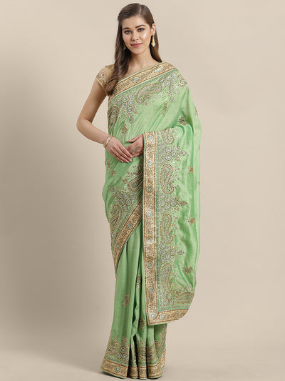 Chhabra 555 French Silk Embroidery Saree with Heavy Embroidery border, crystals and Pearls