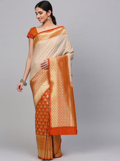 Chhabra 555 Beige orange Banarasi Handloom Silk Saree with zari woven Geometric and floral motifs