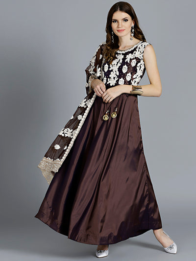 Chhabra 555 Brown Resham Embroidered Stitched Kurta Set With Broad Border Pearl studded Net Dupatta