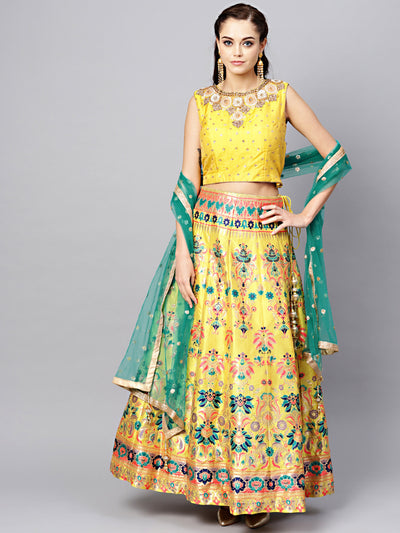 Chhabra 555 Yellow Silk Made-to-Measure Crystal Embellishments crop-top with Woven Banarasi Lehenga