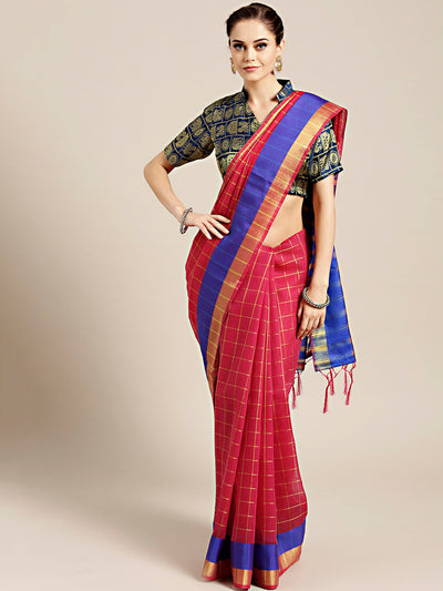 Chhabra 555 Red Banarasi Chanderi Silk Saree with Checked Gharchola weaving pattern