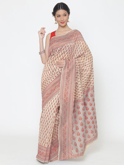 Chhabra 555 Cream Pink Cotton Silk saree with handloom weaving floral patterns and a broad border