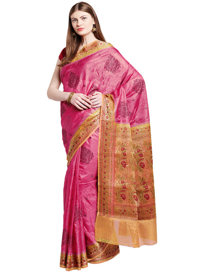 Chhabra 555 Magenta Pink Coloured Tussar Silk Embroidered Saree