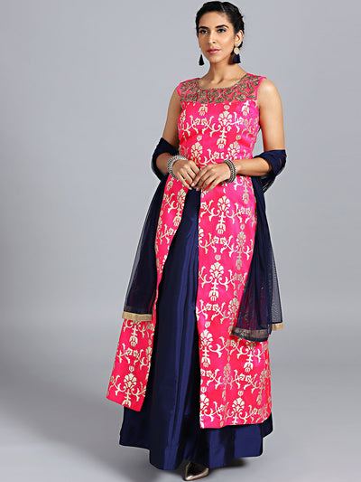 Chhabra 555 Pink & Blue Raw Silk Gotta Patti Hand Embroidered Stitched Long Jacket Lehenga With Net Dupatta
