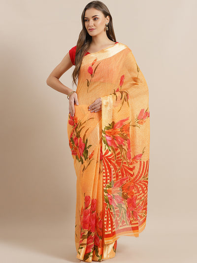 Chhabra 555 Orange Jute Cotton Silk saree with Floral Digital print and Satin Broad Border