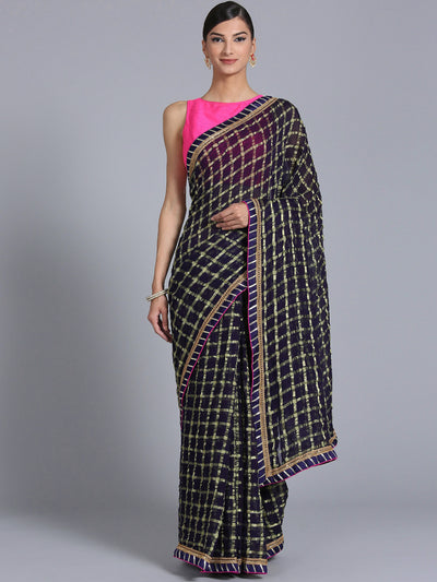 Chhabra 555 Navy Blue Georgette Gharchola Saree with Zari Weaving and Gota embroidery