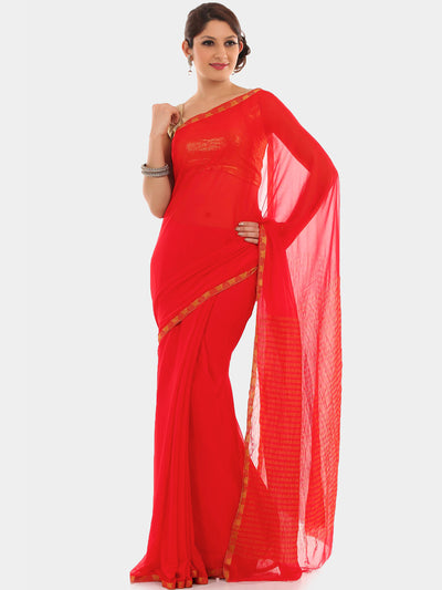 "Chhabra 555 Red Chiffon ""binny"" style Party Wear Saree with Khaddi Georgette blouse"