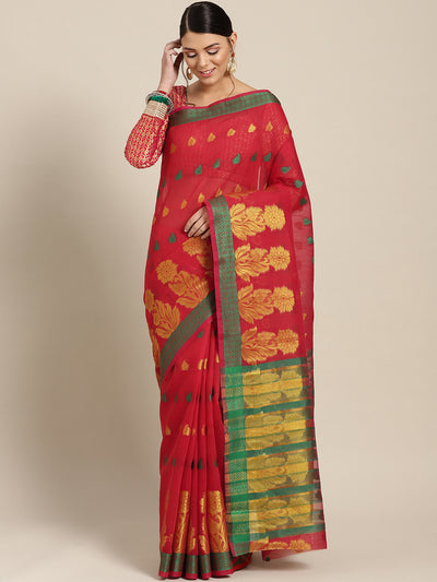 Chhabra 555 Red Chanderi Silk saree with Zari and Resham weaving in a floral pattern