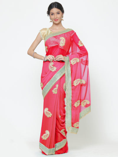 Chhabra 555 Pink Georgette Saree With Resham Embroidery
