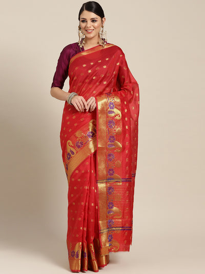 Chhabra 555 Red Chanderi Silk saree with Zari and Meenakari weaving in a paisley pattern