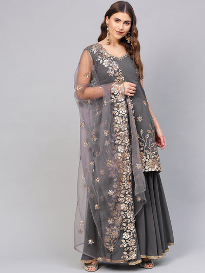Chhabra 555 Made to Measure Grey Kurta Sharara Set with Zari Sequin Embroidery and Heavily embellished cut work dupatta