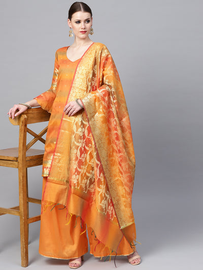 Chhabra 555 Mustard Banarasi Handloom Dress Material with Zari Weaving and Tassled dupatta