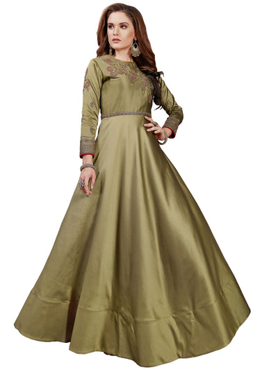 Chhabra 555 Made-to-Measure Gold Embellished Gown with Zari and Resham jeweled pattern neckline