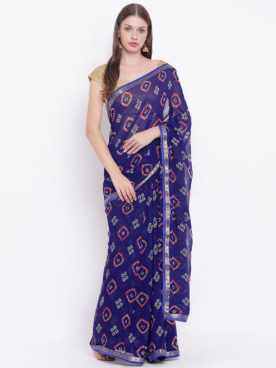 Chhabra 555 Blue Georgette Leheriya saree with Quirky Colorful prints and woven border