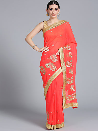 Chhabra 555 Coral Pink Resham & Zari Embroidered Georgette Saree wuth floral paisley motifs