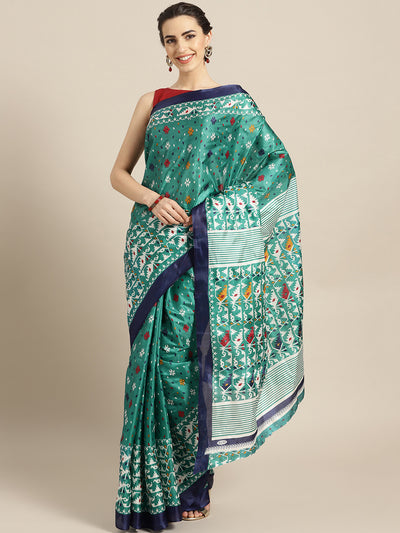 Chhabra 555 Turquoise Printed Bhagalpuri Saree with Tribal, Abstract and Ikat-inspired motifs
