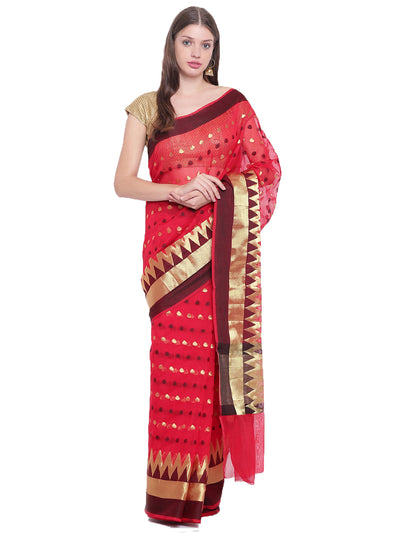 Chhabra 555 Red Handloom Banarasi Saree with Zari Woven Temple Border