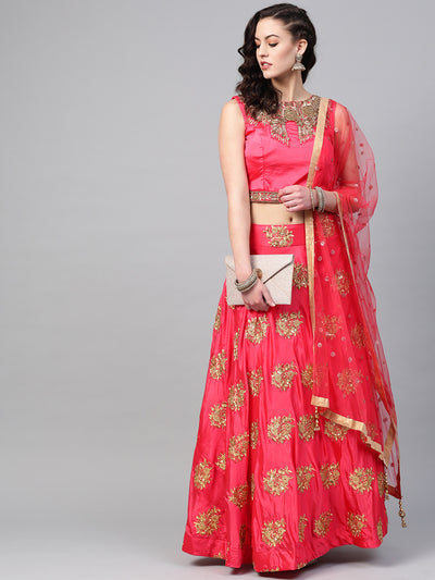 Chhabra 555 Made-to-Measure Crop Top Lehenga Set with Sequin embroidery and Crystal Bead Embellishments