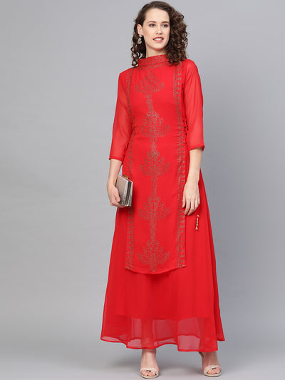 Chhabra 555 Made to Measure Geoergette Layered Kurta Dress with Crystal Embellished Ethnic patterns