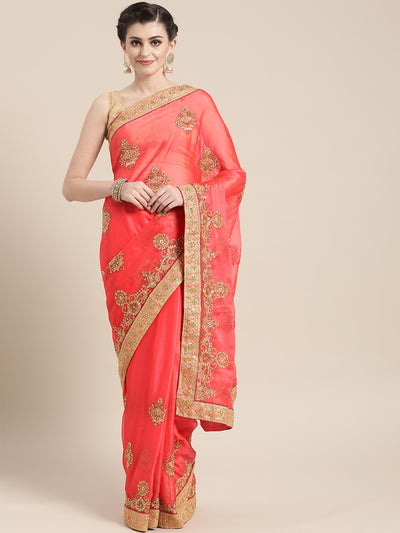 Chhabra 555 Chiffon Embellished Saree with Zari and Resham Embroidered border